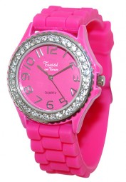 Tussi on Tour Armbanduhr Pink mit Strass